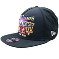 on the left side of the Chicago Bulls World Champs trucker snapback hat has a New Era logo embroidered