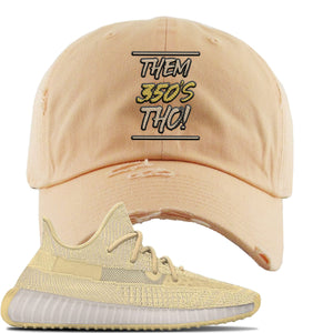 Yeezy Boost 350 V2 Flax Sneaker Peach Distressed Dad Hat | Hat to match Adidas Yeezy Boost 350 V2 Flax Shoes | Them 350's Tho