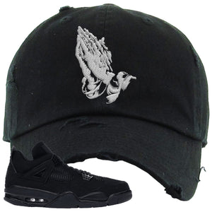 Air Jordan 4 Black Cat Praying Hands Black Made to Match Distressed Dad Hat