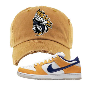 SB Dunk Low Laser Orange Distressed Dad Hat | Timberland, Indian Chief