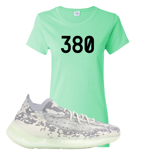 Yeezy Boost 380 Alien 380 Mint Green Sneaker Matching Women's T-Shirt