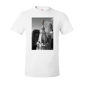 Jason Kelce City Hall T-Shirt | Kelce City Hall Statue White T-Shirt the front of this t-shirt has jason kelce on top of city hall