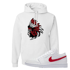 Air Jordan 1 Low White and Varsity Red Hoodie | Indian Chief, White
