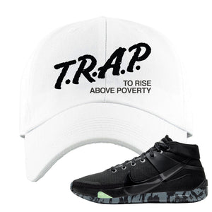 Nike KD 13 Black And Dark Grey Dad Hat | Trap To Rise Above Poverty, White