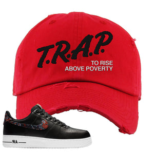 Air Force 1 Low Black Floral Distressed Dad Hat | Trap To Rise Above Poverty, Red