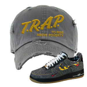Air Force 1 Low Plaid And Camo Remix Pack Distressed Dad Hat | Trap To Rise Above Poverty, Dark Gray