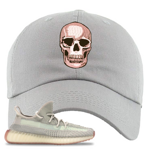 Yeezy Boost 350 V2 Citrin Non-Reflective Skull Light Gray Sneaker Matching Dad Hat