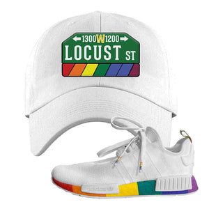 NMD R1 Pride Dad Hat | White, Locust Street Sign