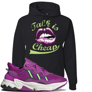 Ozweego Vivid Pink Sneaker Black Pullover Hoodie | Hoodie to match Adidas Ozweego Vivid Pink Shoes | Talk is Cheap