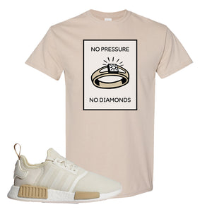 NMD R1 Chalk White Sneaker Sand T Shirt | Tees to match Adidas NMD R1 Chalk White Shoes | No Pressure No Diamond