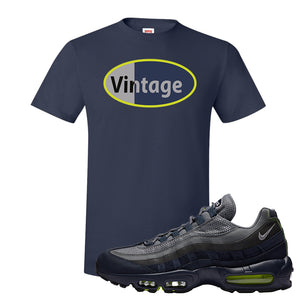 Air Max 95 Midnight Navy / Volt T Shirt | Navy, Vintage Oval