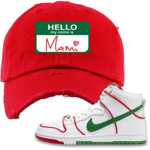 Paul Rodriguez's Nike SB Dunk High Sneaker Red Distressed Dad Hat | Distressed Dad Hat to match Paul Rodriguez's Nike SB Dunk High Shoes | Hello My Name Is Mami