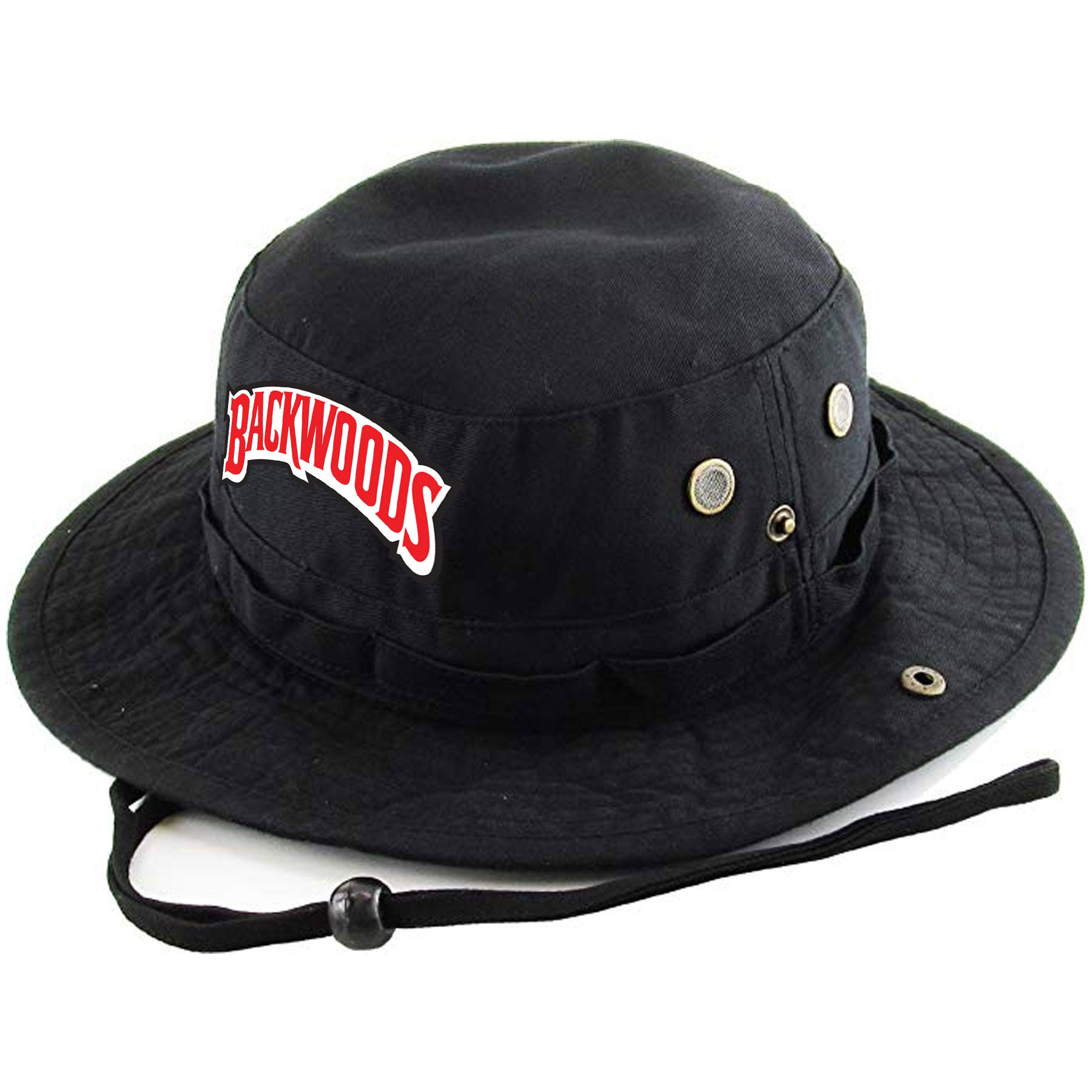 Embroidered on the front of the Black n  Sweet Aromatic black boonie  Backwoods Bucket Hat 577acc14892