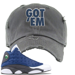 Jordan 13 Flint 2020 Sneaker Dark Gray Distressed Dad Hat | Hat to match Nike Air Jordan 13 Flint 2020 Shoes | Got Em