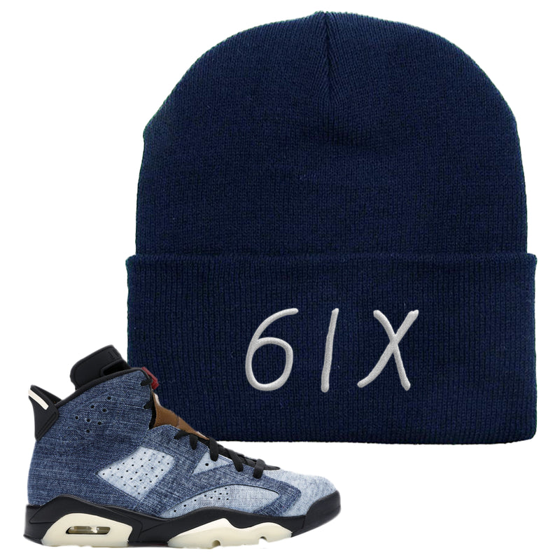 Jordan 6 Washed Denim Beanie | Navy Blue, 6ix