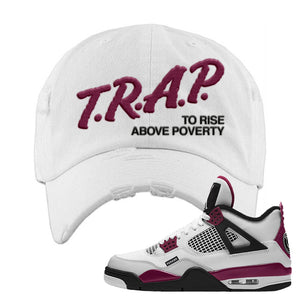 Air Jordan 4 PSG Paname Distressed Dad Hat | Trap To Rise Above Poverty, White