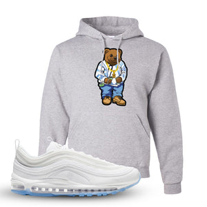Air Max 97 White/Ice Blue/White Sneaker Ash Pullover Hoodie | Hoodie to match Nike Air Max 97 White/Ice Blue/White Shoes | Sweater Bear