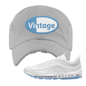 Air Max 97 White/Ice Blue/White Sneaker Light Gray Distressed Dad Hat | Hat to match Nike Air Max 97 White/Ice Blue/White Shoes | Vintage Oval