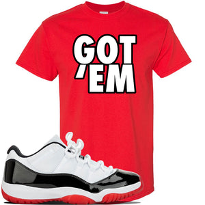 Jordan 11 Low White Black Red Sneaker Red T Shirt | Tees to match Nike Air Jordan 11 Low White Black Red Shoes | Got Em
