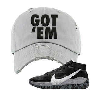 KD 13 Oreo Distressed Dad Hat | Got Em, Light Gray