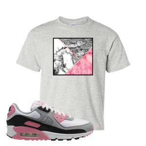 WMNS Air Max 90 Rose Pink Marble Mosaic Ash Kid's T-Shirt To Match Sneakers