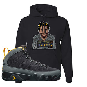 Air Jordan 9 Charcoal University Gold Hoodie | Escobar Illustration, Black