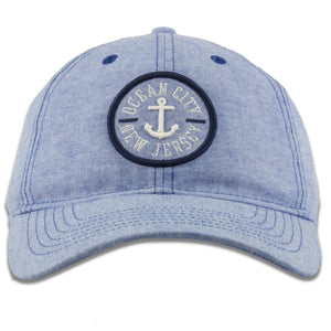Ocean City, New Jersey Anchor Patch Light Blue Oxford Cloth Adjustable Baseball Cap