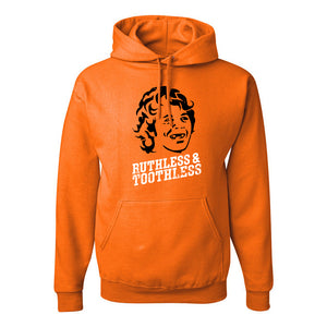 Ruthless & Toothless Pullover Hoodie | Ruthless & Toothless Orange Pull Over Hoodie the front of this hoodie has the ruthless and toothless design