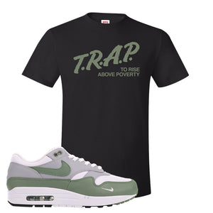 Air Max 1 Spiral Sage T-Shirt | Trap To Rise Above Poverty, Black