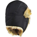 the blaxck faux fur trapper hat has flaps to cover your ears and insulate you from the cold