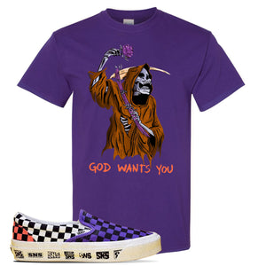 Vans Slip On Venice Beach Pack T Shirt | Purple, GOD Wants You Reaper