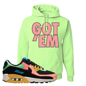 Furry Air Max 90 Bright Neon Pullover Hoodie | Got Em, Neon Green