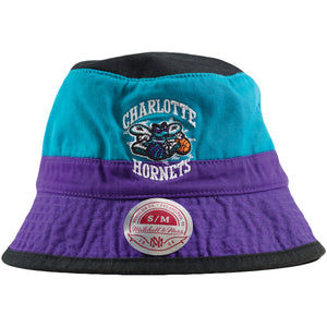 Front of hornets bucket Retro Hornets Bucket hat | Charlotte hornets throwback color block mitchell ness bucket