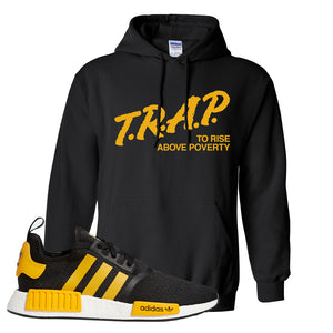 NMD R1 Active Gold Hoodie | Black, Trap To Rise Above Poverty