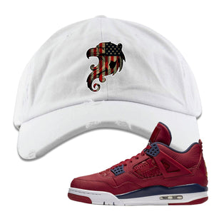 Air Jordan 4 FIBA Stars and Stripes Eagle White Sneaker Matching Distressed Dad Hat