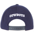 The back of the Dallas Cowboys navy blue on camo snapback hat has the Cowboys word mark embroidered in white