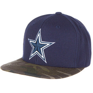 Embroidered on the front of the Dallas Cowboys navy blue on camouflage snapback hat is the Dallas Cowboys logo in white and navy blue