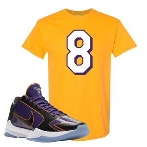 Kobe 5 Protro 5x Champ T Shirt | Number 8, Gold