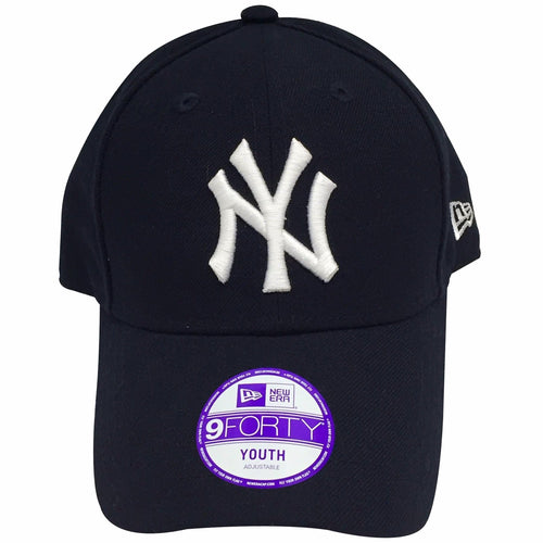 the New York Yankees navy blue dad hat has a white New York Yankees logo embroidered on the front of a navy blue dad hat