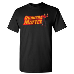 Printed on the front of the Air Max 97 Sunburst black sneaker matching t-shirt is the Runners Matter logo