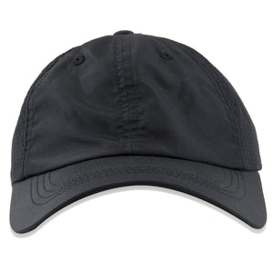 The blank black perforated dad hat is a black sporty material with light perforation on the back for air flow