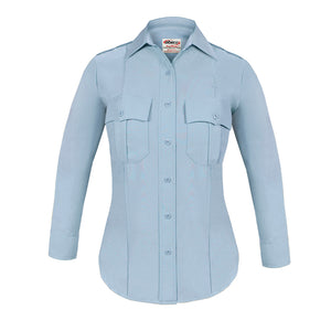 the TexTrop2 Long Sleeve Women's Uniform Shirt | French Blue Moisture Wicking Police Duty Shirt for Women has patch pockets and a pointed collar