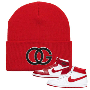 Jordan 1 New Beginnings Pack Sneaker Red Beanie | Beanie to match Nike Air Jordan 1 New Beginnings Pack Shoes | OG
