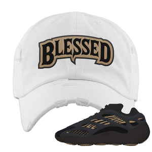 Yeezy 700 v3 Eremial Distressed Dad Hat | Blessed Arch, White