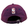 embroidered on the back of the Philadelphia 76ers purple hue adjustable dad hat is the NBA logo embroidered in white and red