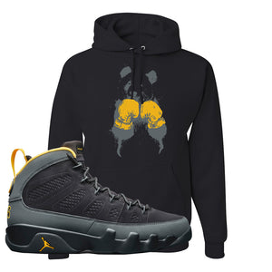 Air Jordan 9 Charcoal University Gold Hoodie | Boxing Panda, Black