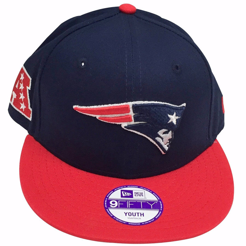the new england patriots kid's sized afc champions snapback hat has a navy blue crown, a red brim and a patriots logo embroidered on the front