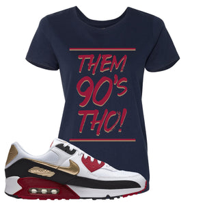 Air Max 90 Chinese New Year Women's T Shirt | Navy Blue, Them 90's Tho