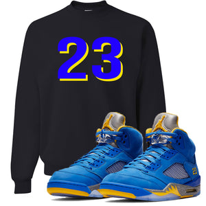 This black and blue sweater will match great with your Jordan 5 Alternate Laney JSP shoes