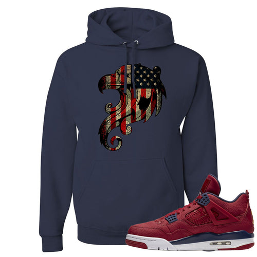 Jordan 4 FIBA Stars and Stripes Eagle Navy Sneaker Matching Pullover Hoodie